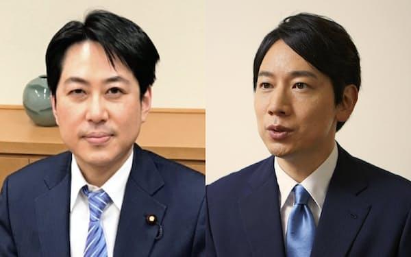 インタビューに答える自民党の小倉将信氏