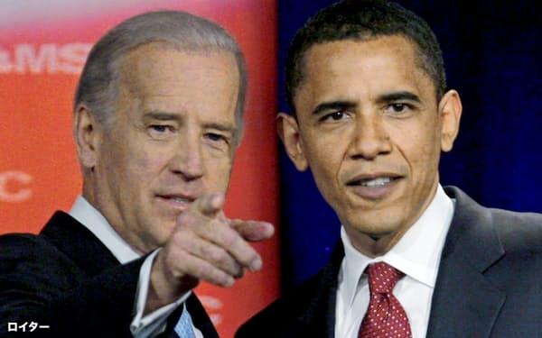 オバマ前大統領(右)は11月の大統領選でバイデン前副大統領(左)を支持している=ロイター