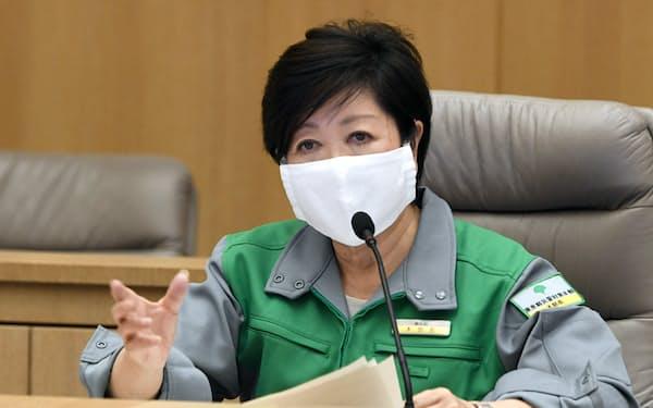 新型コロナウイルス感染症対策本部会議で発言する小池都知事(15日、都庁)