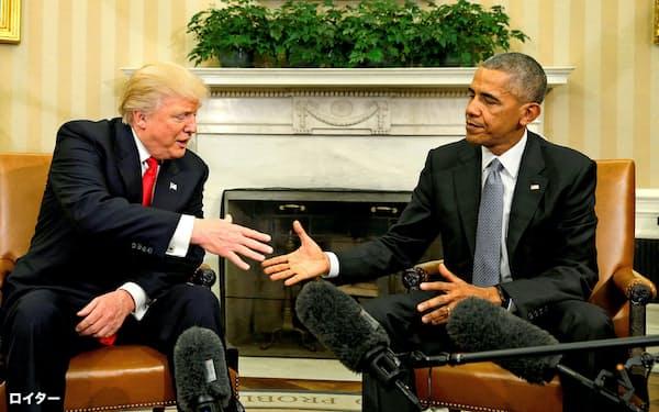 2016年11月、ホワイトハウスで会談するオバマ大統領(右)とトランプ次期大統領=ロイター