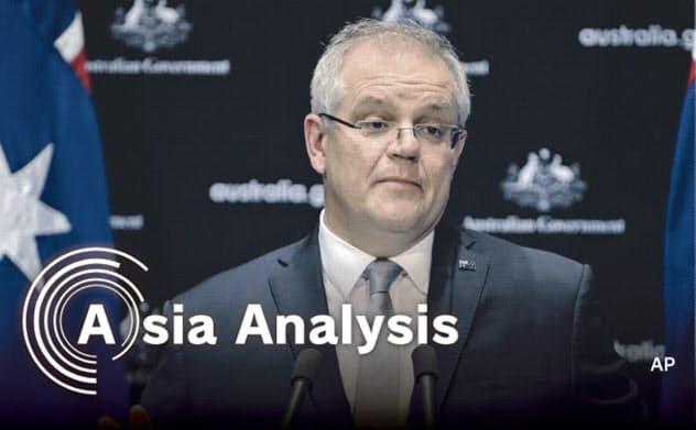 モリソン豪首相は新型コロナの感染源となった中国での調査を主張している=AP