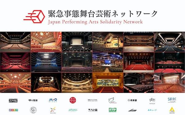 「緊急事態舞台芸術ネットワーク」のホームページ。歌舞伎やミュージカルなど、多くの劇場の客席が無人のままになっていることを表している