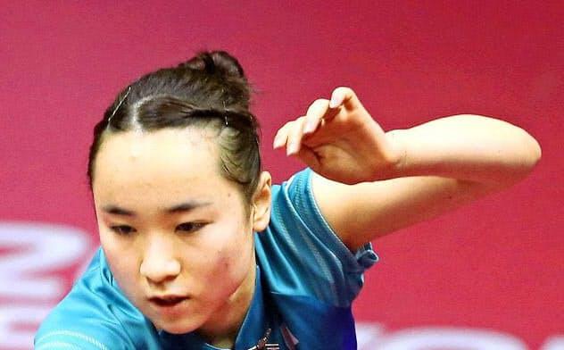 東京五輪では日本勢で唯一全3種目に出場予定(3月、国際卓球連盟提供)=共同
