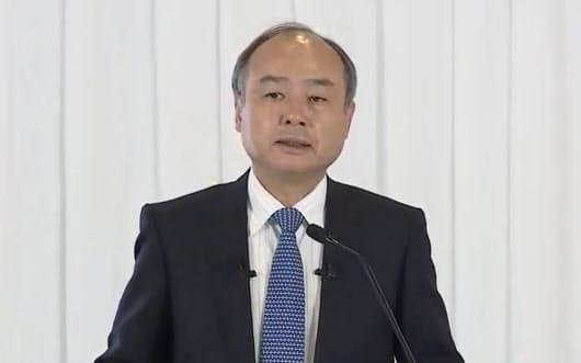 決算発表するソフトバンクグループの孫正義会長兼社長(18日)