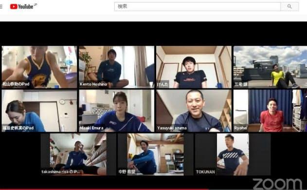ユーチューブにトレーニングを公開したフェンシング日本代表の選手ら。現役選手や指導者による技術や戦術の動画が急増している(日本フェンシング協会提供)=共同