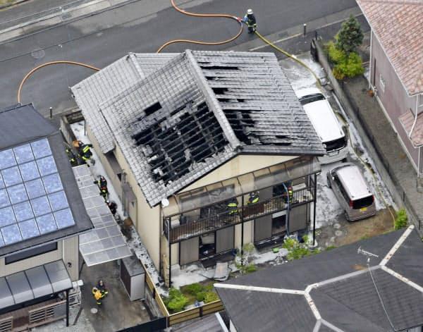 奈良県五條市の住宅火災現場=20日午後0時9分=共同