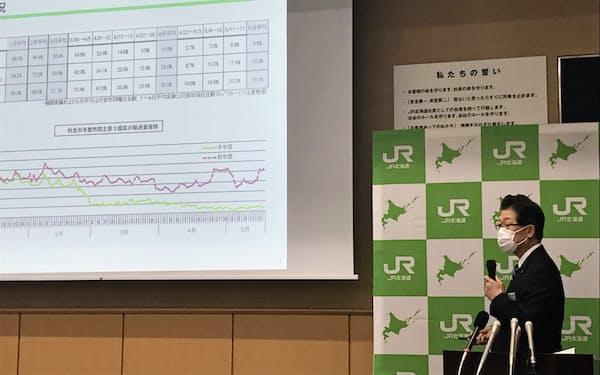 記者会見で鉄道の利用状況を説明するJR北海道の島田修社長(20日、札幌市内の本社)