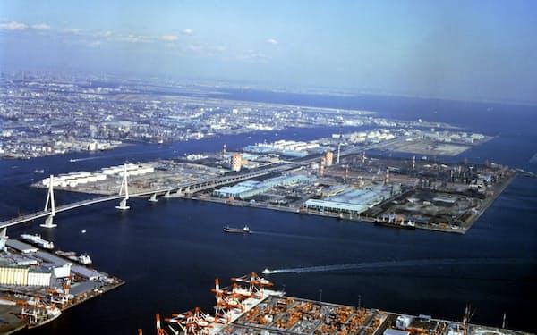 川崎市の臨海部に広がる京浜工業地帯