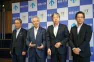 徳島大学は阿波銀行などと大学発スタートアップの支援をする投資ファンドを設立した(21日、徳島市内)