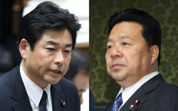 無所属の山井和則議員(写真左)と公明党の佐藤英道氏