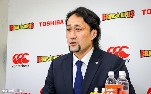 インターネットで引退会見を開いたラグビー元日本代表の大野均=東芝提供・共同