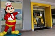 フィリピン人の国民食ジョリビーの店舗も外出制限措置を受け閉鎖している(マニラ)