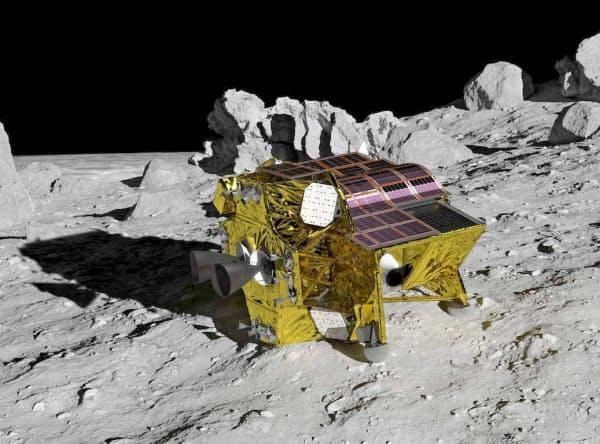 JAXAの月面探査機「SLIM」の想像図(JAXA提供)=共同