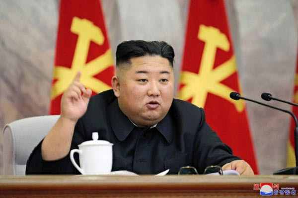 朝鮮労働党中央軍事委員会拡大会議に出席する金正恩党委員長=朝鮮中央通信・共同
