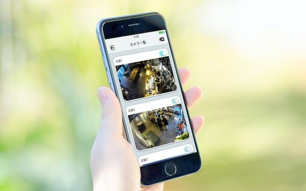 スマートフォンなどでどこでもカメラ映像を確認できる