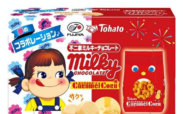 不二家が発売する「ミルキーチョコレート(キャラメルコーン味)」