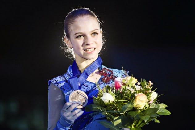 フィギュアスケートの欧州選手権女子で3位だったロシアのアレクサンドラ・トルソワ=1月、オーストリア・グラーツ(タス=共同)