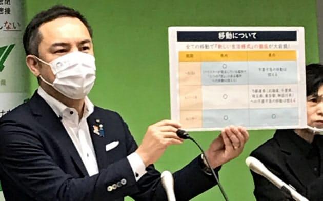 鈴木知事は当面の移動自粛を呼びかけた(県庁)