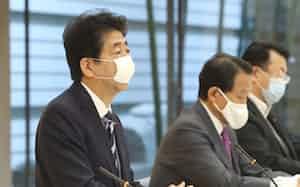 政府・与党政策懇談会であいさつする安倍首相(27日午前、首相官邸)
