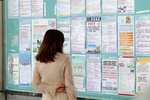 新型コロナウイルスが発生した中国の求職者(4月、広東省)=AP