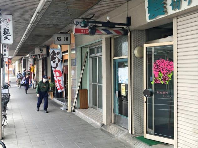 人通りのまばらな雁道商店街(名古屋市瑞穂区)