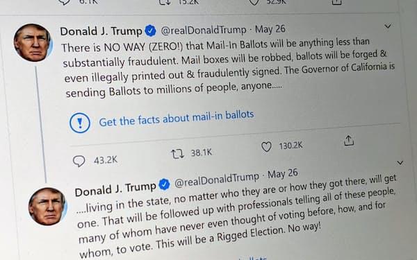 米ツイッターはトランプ氏の郵便投票に関する投稿に対し、事実確認を促す注記をつけた