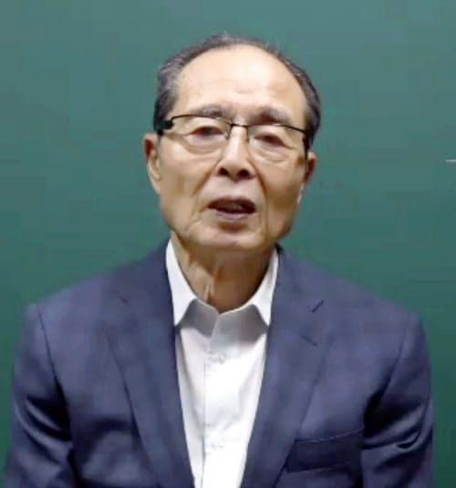 オンラインでの取材に応じるソフトバンクの王貞治球団会長(29日)=共同