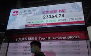 米中対立が激化するなか、中国本土からの資金が香港株を買い支えした(26日、写真はAP)