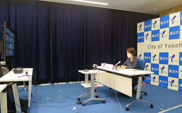 指定都市市長会は初のオンライン開催となった(29日、横浜市)