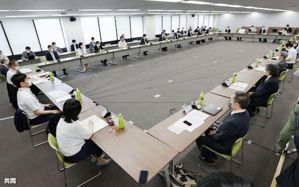 東京都内で開かれた新型コロナウイルス対策を検討する政府の専門家会議(29日午後)=共同
