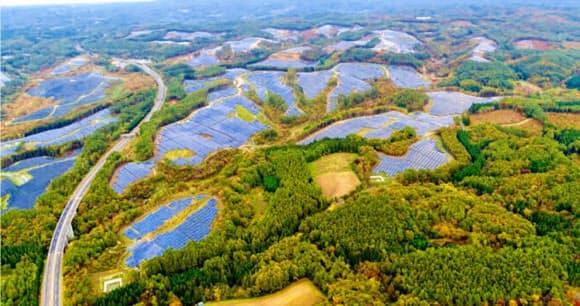 レノバはメガソーラーを立地した地域で住民の理解を得るため、森林伐採を最小限に抑える工法を採用した(岩手県軽米町)