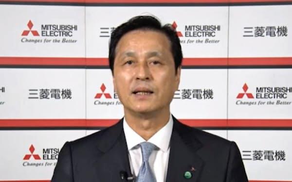 動画配信で説明する三菱電機の杉山武史社長