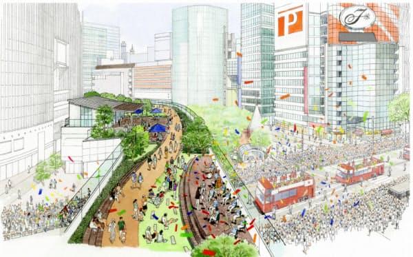 中央区による緑化と遊歩道のイメージ