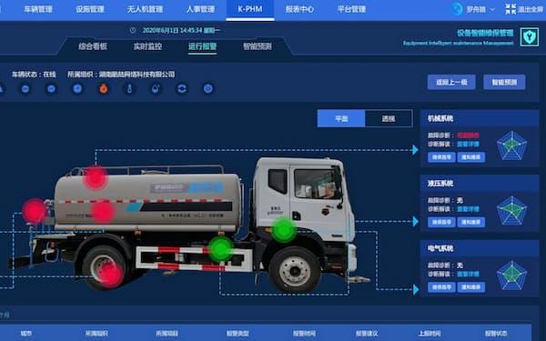 清掃車の情報をシステムで一元管理(酷陸科技提供)