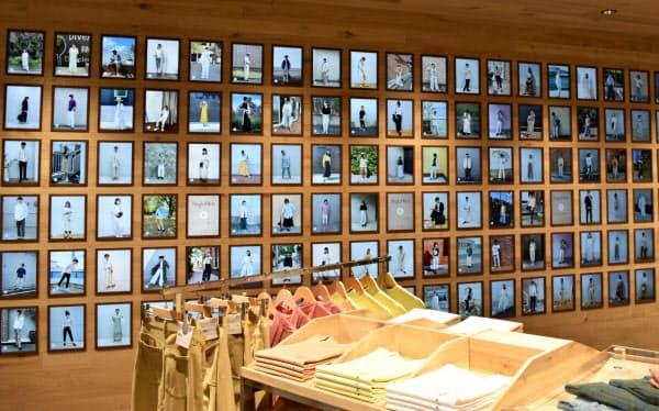 着こなしに近い商品を探せるアプリ「スタイルヒント」と連動した売り場(3日、東京都渋谷区の「ユニクロ原宿店」)