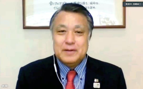 オンラインで記者会見し、WEリーグ発足を発表する日本サッカー協会の田嶋幸三会長=3日