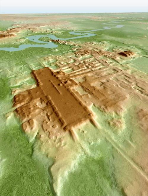 上空からのレーザー測量で判明した「アグアダ・フェニックス遺跡」の大基壇の3Dイメージ(猪俣健・米アリゾナ大教授提供・共同)