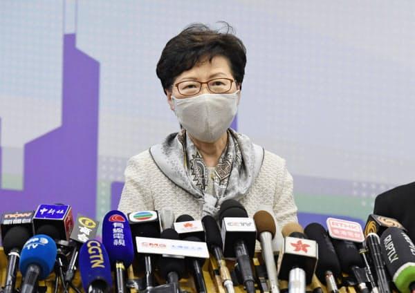 北京で記者会見する香港政府トップの林鄭月娥行政長官(3日)=共同