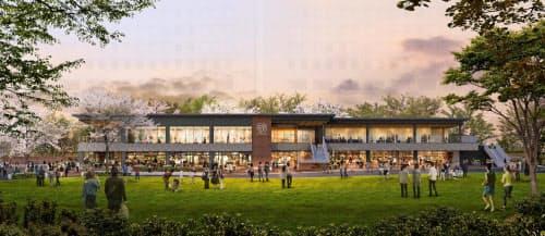 広大な芝生広場の中にレストランやフィットネスクラブがオープンする(完成イメージ)