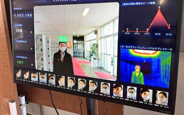 土浦一高が設置したAI検温システム