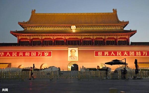 天安門事件から31年を迎えた朝の天安門=4日、北京(共同)