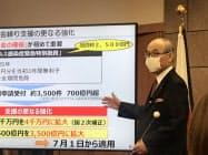 谷本知事は「地域経済の痛みは深刻だ」と話す(5日、金沢市)