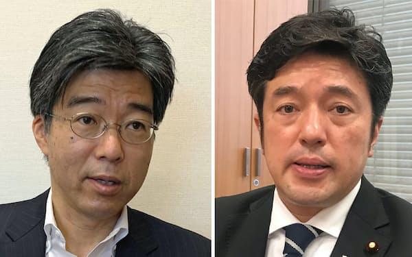 無所属・田嶋要野党共同会派経産部会長(左)と自民党の中山泰秀外交部会長