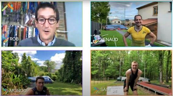 棒高跳びのリモート大会は動画をユーチューブにアップ。ラビレニ(右上)、ケンドリクス(右下)、デュプランティス(左下)が争った(世界陸連提供)=ロイター