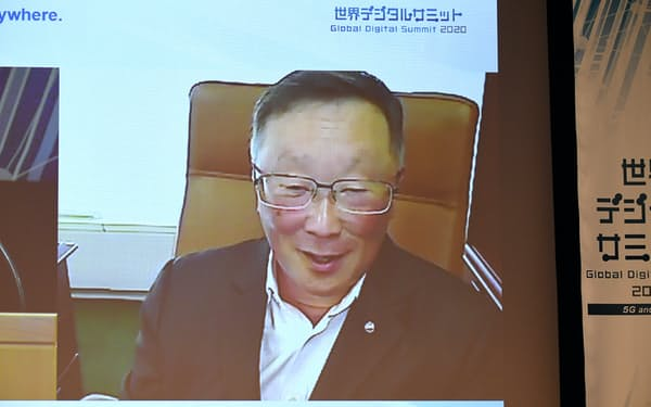 オンラインで講演する加ブラックベリーのジョン・チェン執行役会長兼CEO(8日午前、東京・大手町)