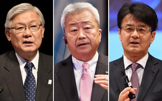 講演する(左から)NECの新野社長、NTTの澤田社長、日本IBMの山口社長(8日、東京・大手町)