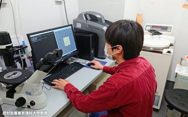 位相差顕微鏡で撮影した画像をパソコンで処理して動画にする=武村東京理科大教授提供