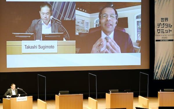 オンラインで講演する米ヴイエムウェアのシェカール・アヤール上席副社長兼ゼネラルマネージャー(9日午前、東京・大手町)