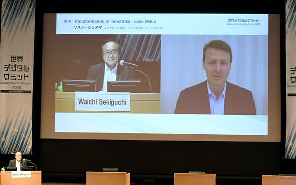 オンラインで講演するノキア前会長でエフセキュア会長のリスト・シラスマ氏(画面右)=9日、東京・大手町