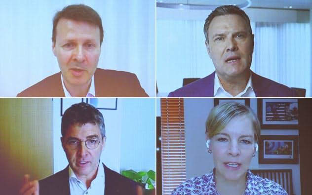 9日午後に講演した4氏(左上から時計回りでノキアのシラスマ前会長、蘭ヒアのオーバービークCEO、英コルトのギルダーCEO、米レッドハットのヴァン・ルーウェン上級副社長)
